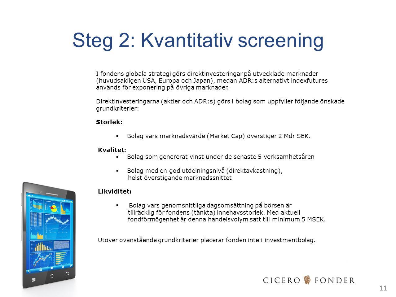 Steg 2: Kvantitativ screening I fondens globala strategi görs direktinvesteringar på utvecklade marknader (huvudsakligen USA, Europa och Japan), medan