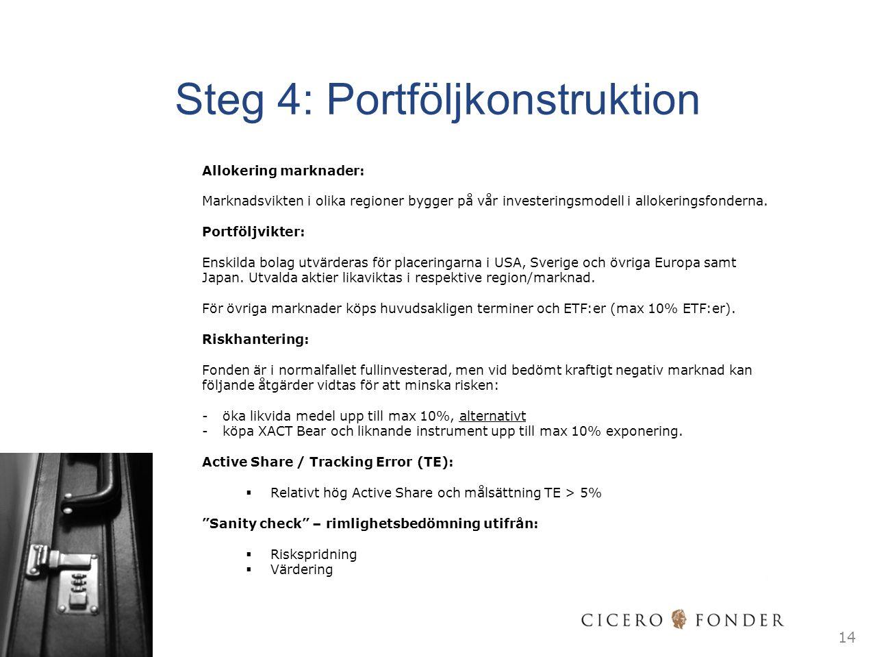 Steg 4: Portföljkonstruktion Allokering marknader: Marknadsvikten i olika regioner bygger på vår investeringsmodell i allokeringsfonderna. Portföljvik