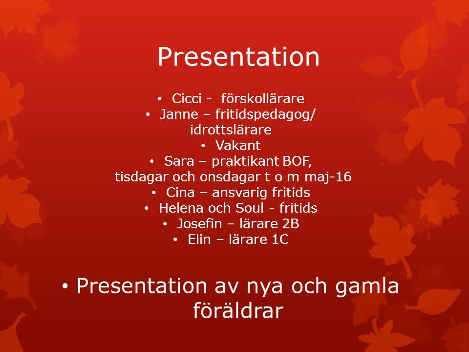 Presentation Cicci - förskollärare Janne – fritidspedagog/ idrottslärare Vakant Sara – praktikant BOF, tisdagar och onsdagar t o m maj-16 Cina – ansva