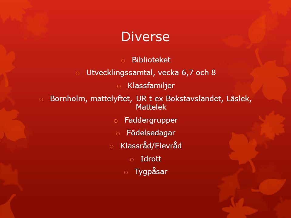 Diverse o Biblioteket o Utvecklingssamtal, vecka 6,7 och 8 o Klassfamiljer o Bornholm, mattelyftet, UR t ex Bokstavslandet, Läslek, Mattelek o Fadderg
