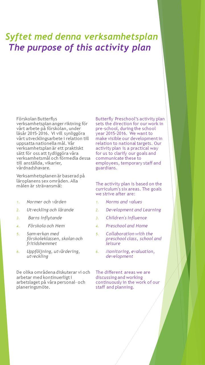 Syftet med denna verksamhetsplan The purpose of this activity plan Förskolan Butterflys verksamhetsplan anger riktning för vårt arbete på förskolan, u