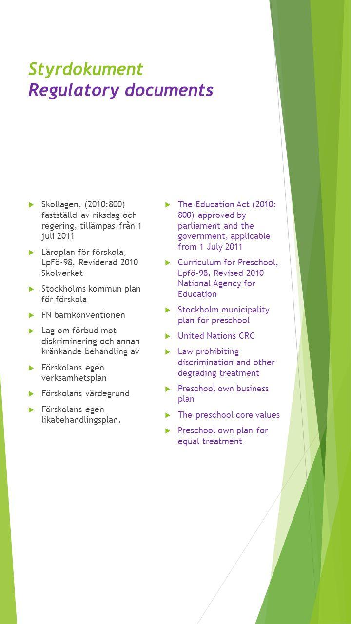 Styrdokument Regulatory documents  Skollagen, (2010:800) fastställd av riksdag och regering, tillämpas från 1 juli 2011  Läroplan för förskola, LpFö