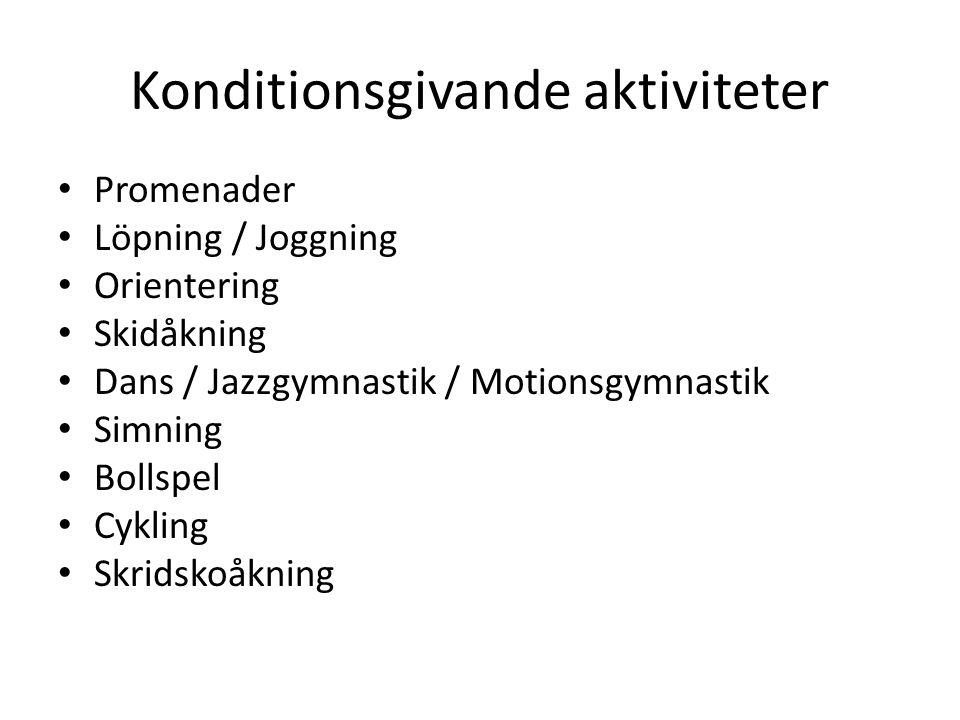 Konditionsgivande aktiviteter Promenader Löpning / Joggning Orientering Skidåkning Dans / Jazzgymnastik / Motionsgymnastik Simning Bollspel Cykling Sk