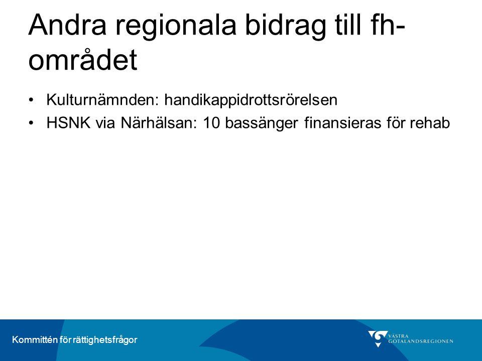Kommittén för rättighetsfrågor Andra regionala bidrag till fh- området Kulturnämnden: handikappidrottsrörelsen HSNK via Närhälsan: 10 bassänger finansieras för rehab