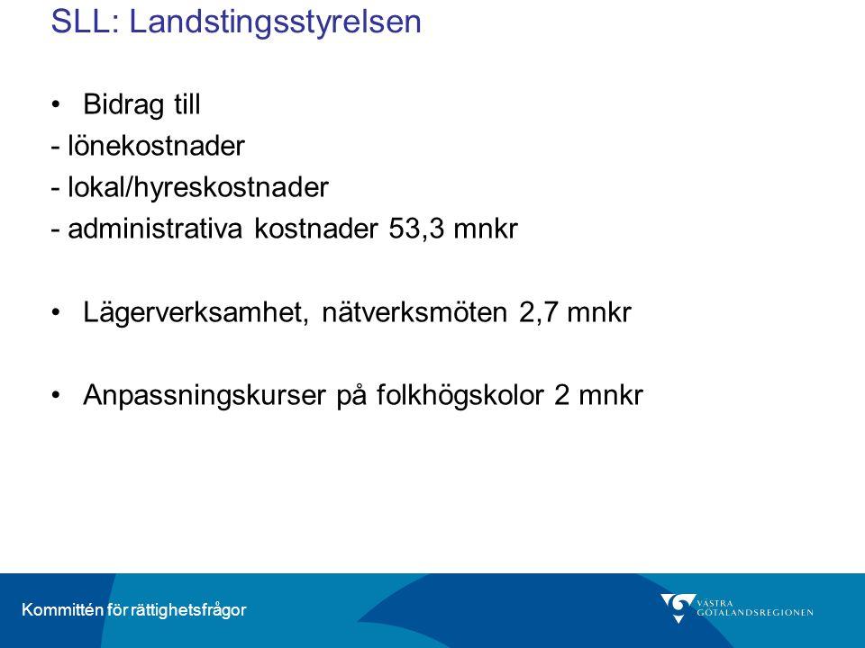 Kommittén för rättighetsfrågor SLL: Landstingsstyrelsen Bidrag till - lönekostnader - lokal/hyreskostnader - administrativa kostnader 53,3 mnkr Lägerverksamhet, nätverksmöten 2,7 mnkr Anpassningskurser på folkhögskolor 2 mnkr