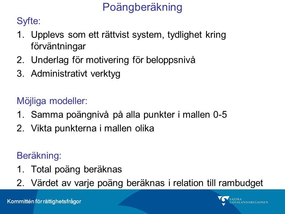 Kommittén för rättighetsfrågor Poängberäkning Syfte: 1.Upplevs som ett rättvist system, tydlighet kring förväntningar 2.Underlag för motivering för beloppsnivå 3.Administrativt verktyg Möjliga modeller: 1.Samma poängnivå på alla punkter i mallen 0-5 2.Vikta punkterna i mallen olika Beräkning: 1.Total poäng beräknas 2.Värdet av varje poäng beräknas i relation till rambudget