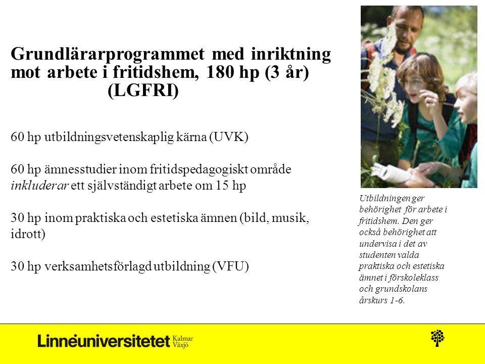 Grundlärarprogrammet med inriktning mot arbete i fritidshem, 180 hp (3 år) (LGFRI) 60 hp utbildningsvetenskaplig kärna (UVK) 60 hp ämnesstudier inom fritidspedagogiskt område inkluderar ett självständigt arbete om 15 hp 30 hp inom praktiska och estetiska ämnen (bild, musik, idrott) 30 hp verksamhetsförlagd utbildning (VFU) Utbildningen ger behörighet för arbete i fritidshem.