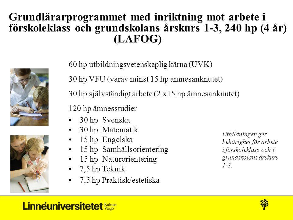 Grundlärarprogrammet med inriktning mot arbete i förskoleklass och grundskolans årskurs 1-3, 240 hp (4 år) (LAFOG) 60 hp utbildningsvetenskaplig kärna (UVK) 30 hp VFU (varav minst 15 hp ämnesanknutet) 30 hp självständigt arbete (2 x15 hp ämnesanknutet) 120 hp ämnesstudier 30 hp Svenska 30 hp Matematik 15 hp Engelska 15 hp Samhällsorientering 15 hp Naturorientering 7,5 hp Teknik 7,5 hp Praktisk/estetiska Utbildningen ger behörighet för arbete i förskoleklass och i grundskolans årskurs 1-3.