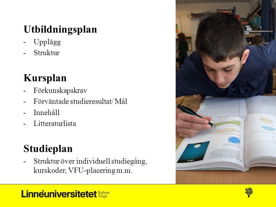 Utbildningsplan -Upplägg -Struktur Kursplan -Förkunskapskrav -Förväntade studieresultat/ Mål -Innehåll -Litteraturlista Studieplan -Struktur över individuell studiegång, kurskoder, VFU-placering m.m.