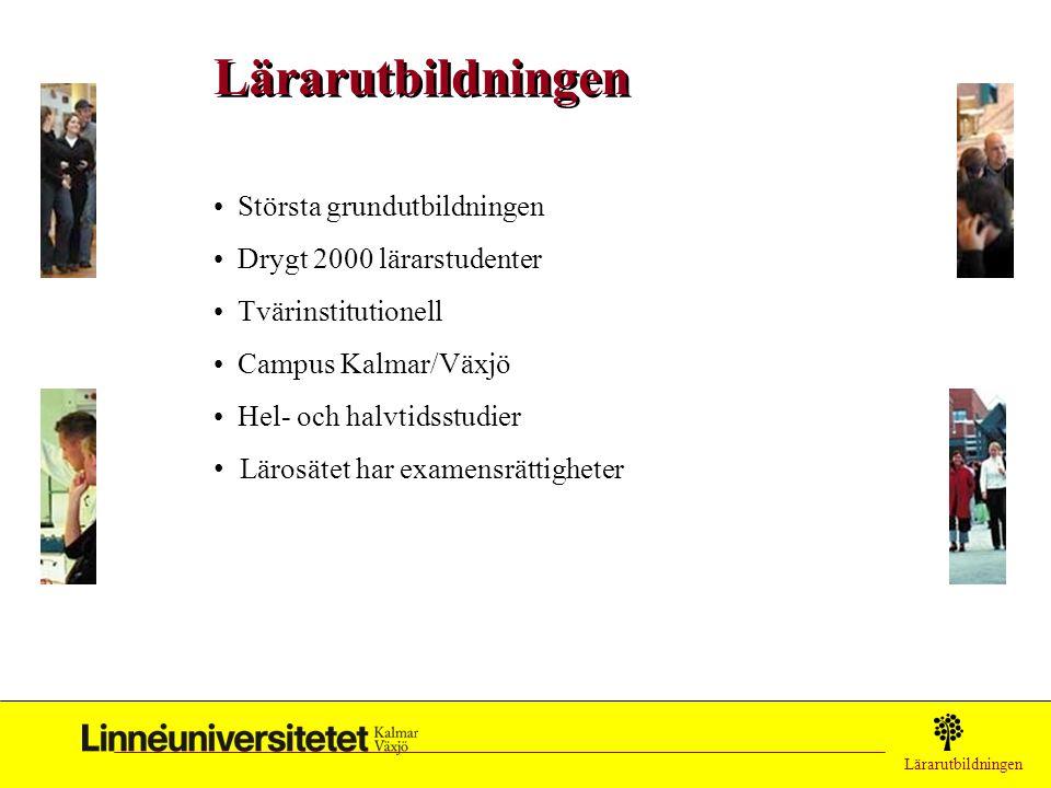 Lärarutbildningen Största grundutbildningen Drygt 2000 lärarstudenter Tvärinstitutionell Campus Kalmar/Växjö Hel- och halvtidsstudier Lärosätet har ex
