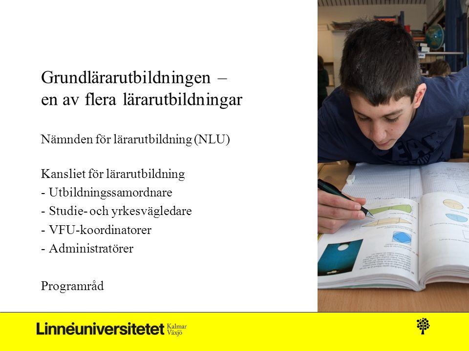 Grundlärarutbildningen – en av flera lärarutbildningar Nämnden för lärarutbildning (NLU) Kansliet för lärarutbildning - Utbildningssamordnare - Studie- och yrkesvägledare - VFU-koordinatorer - Administratörer Programråd