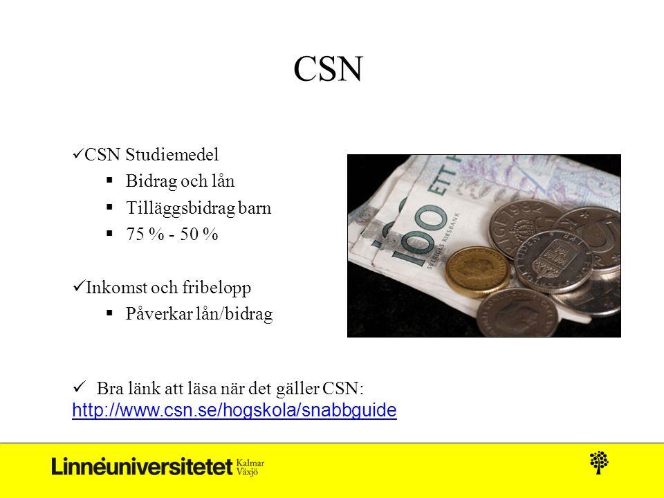 CSN CSN Studiemedel  Bidrag och lån  Tilläggsbidrag barn  75 % - 50 % Inkomst och fribelopp  Påverkar lån/bidrag Bra länk att läsa när det gäller CSN: http://www.csn.se/hogskola/snabbguide