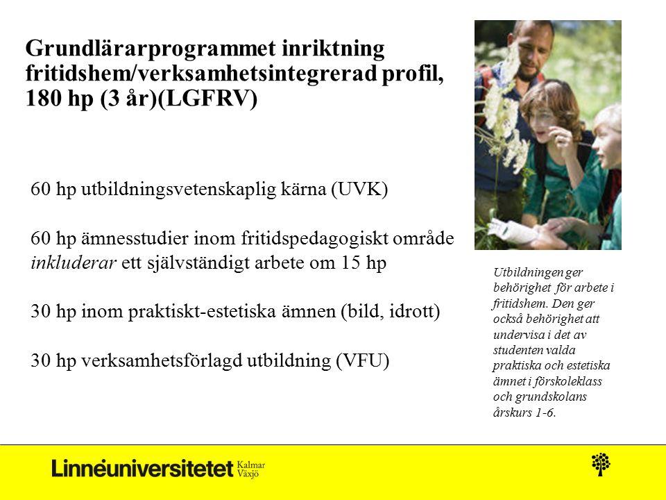 Grundlärarprogrammet inriktning fritidshem/verksamhetsintegrerad profil, 180 hp (3 år)(LGFRV) 60 hp utbildningsvetenskaplig kärna (UVK) 60 hp ämnesstu