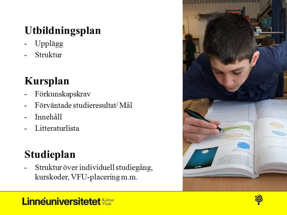 Utbildningsplan -Upplägg -Struktur Kursplan -Förkunskapskrav -Förväntade studieresultat/ Mål -Innehåll -Litteraturlista Studieplan -Struktur över indi