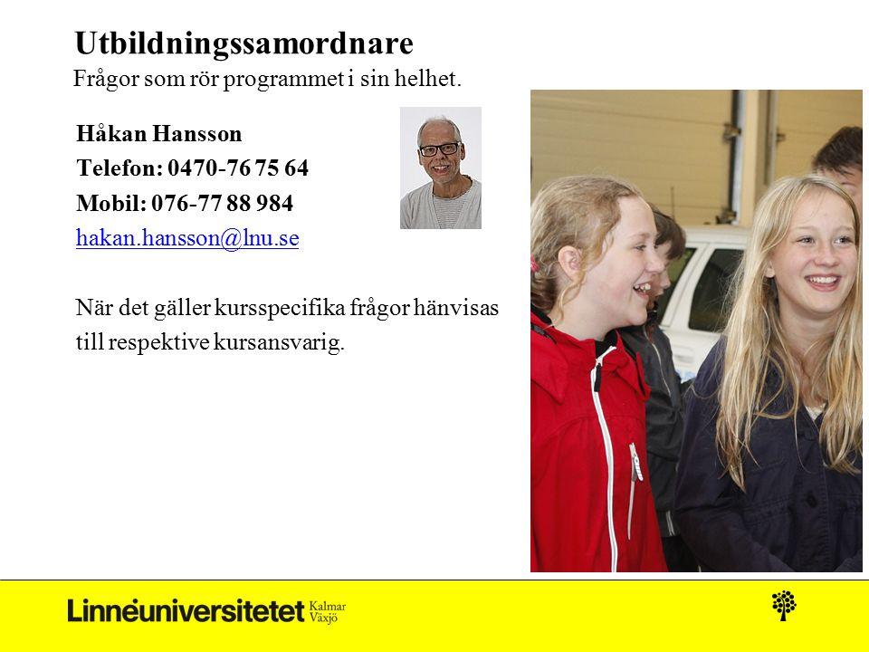 Utbildningssamordnare Frågor som rör programmet i sin helhet. Håkan Hansson Telefon: 0470-76 75 64 Mobil: 076-77 88 984 hakan.hansson@lnu.se När det g