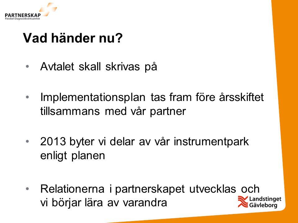 Vad händer nu? Avtalet skall skrivas på Implementationsplan tas fram före årsskiftet tillsammans med vår partner 2013 byter vi delar av vår instrument
