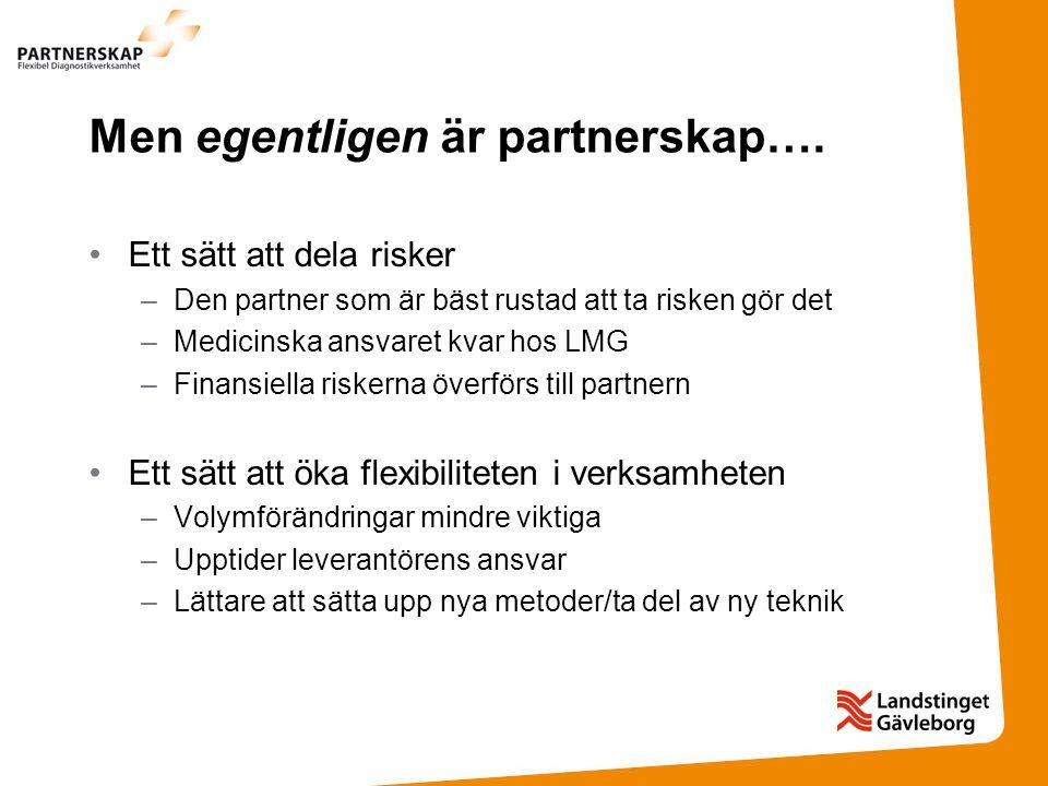Men egentligen är partnerskap…. Ett sätt att dela risker –Den partner som är bäst rustad att ta risken gör det –Medicinska ansvaret kvar hos LMG –Fina