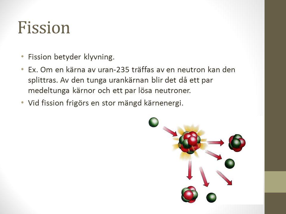 Fission Fission betyder klyvning.Ex.