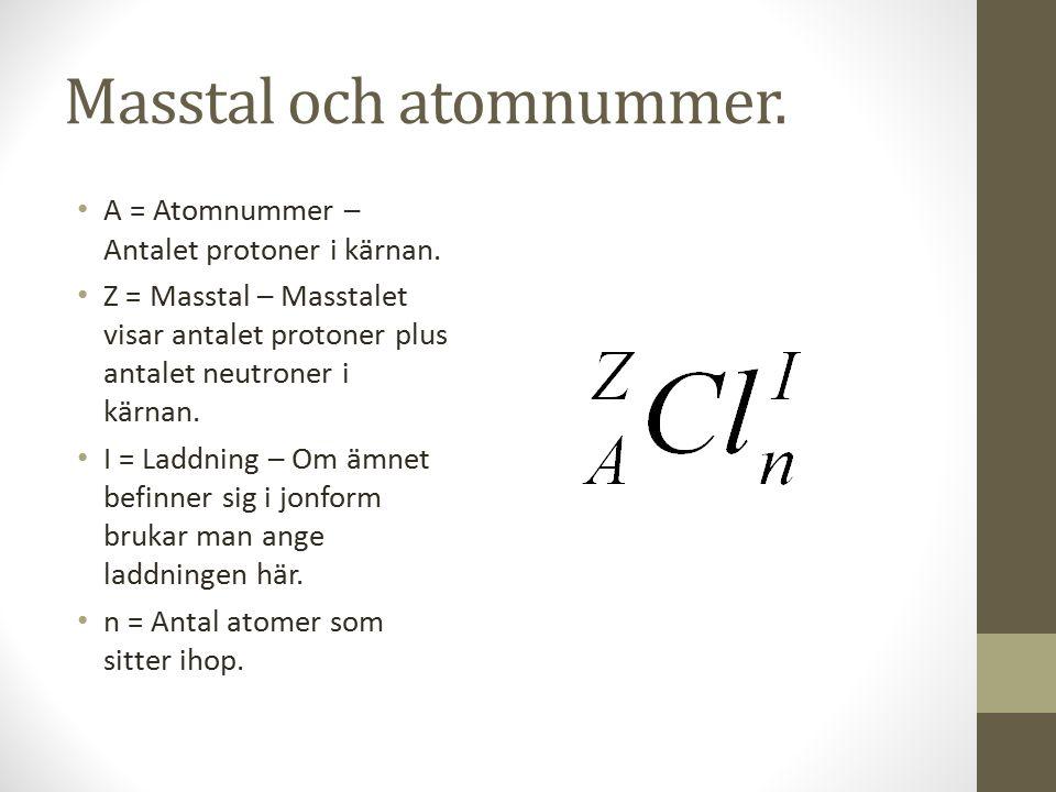 Masstal och atomnummer.A = Atomnummer – Antalet protoner i kärnan.