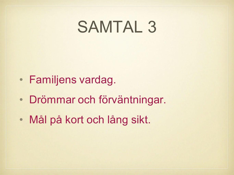 SAMTAL 3 Familjens vardag. Drömmar och förväntningar. Mål på kort och lång sikt.
