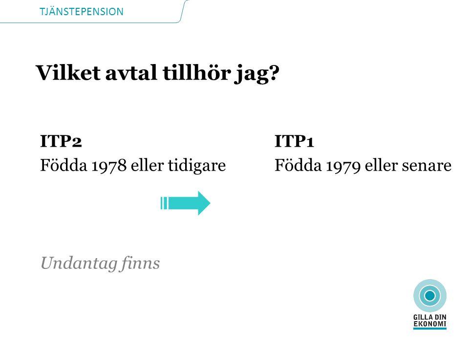 TJÄNSTEPENSION Vilket avtal tillhör jag? ITP2ITP1 Födda 1978 eller tidigareFödda 1979 eller senare Undantag finns