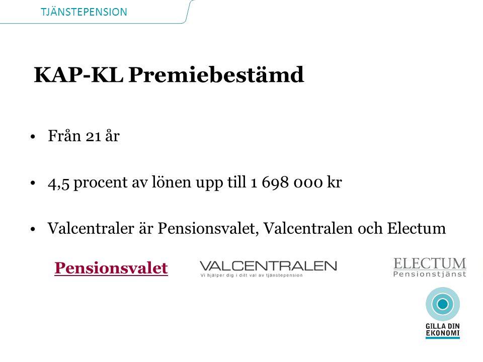 TJÄNSTEPENSION KAP-KL Premiebestämd Från 21 år 4,5 procent av lönen upp till 1 698 000 kr Valcentraler är Pensionsvalet, Valcentralen och Electum Pens