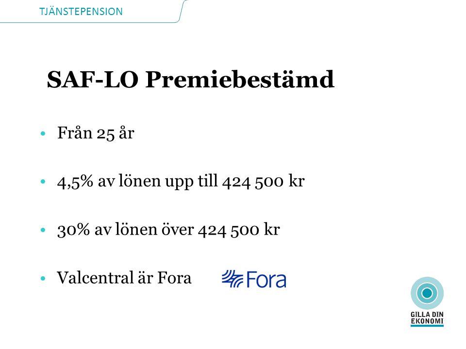 TJÄNSTEPENSION SAF-LO Premiebestämd Från 25 år 4,5% av lönen upp till 424 500 kr 30% av lönen över 424 500 kr Valcentral är Fora