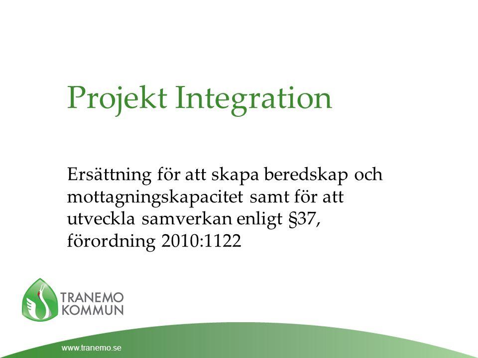 www.tranemo.se Projekt Integration Ersättning för att skapa beredskap och mottagningskapacitet samt för att utveckla samverkan enligt §37, förordning 2010:1122