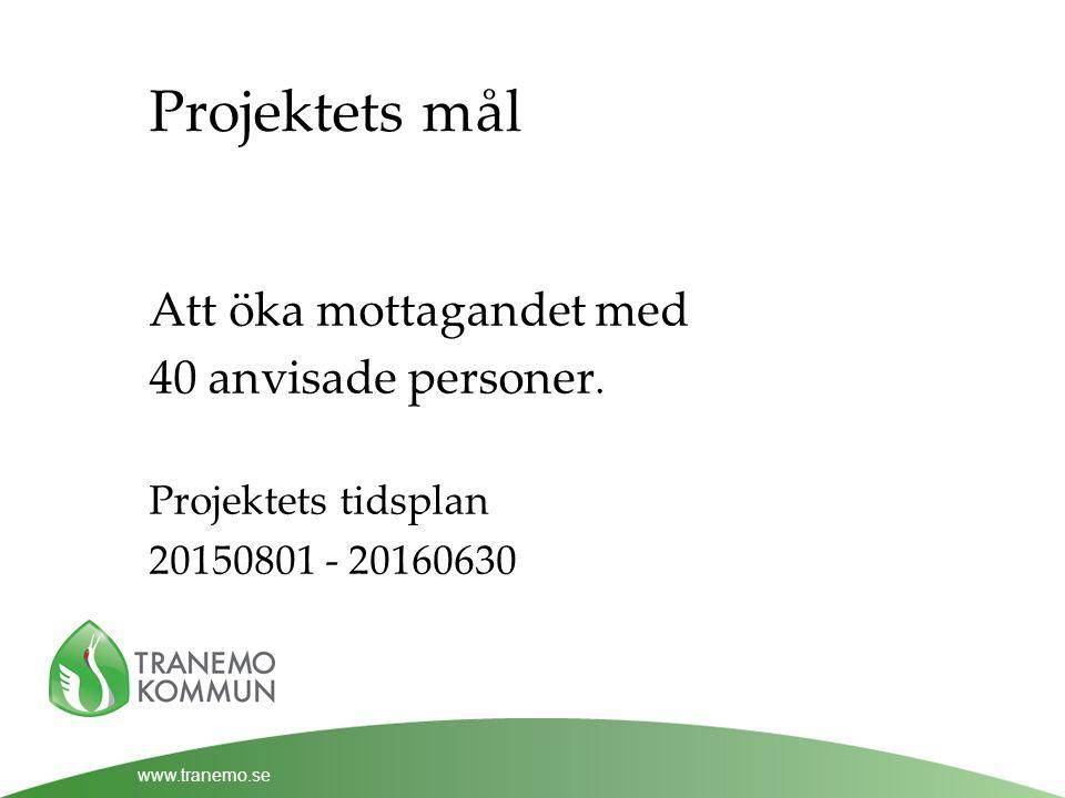 www.tranemo.se Projektets mål Att öka mottagandet med 40 anvisade personer.