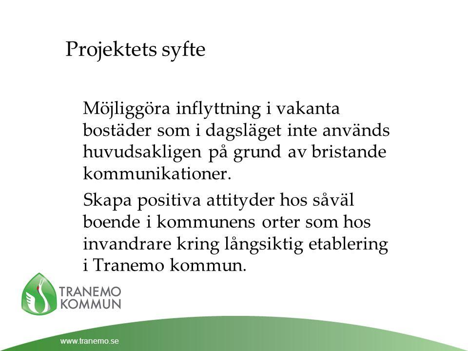 www.tranemo.se Projektets syfte Möjliggöra inflyttning i vakanta bostäder som i dagsläget inte används huvudsakligen på grund av bristande kommunikationer.