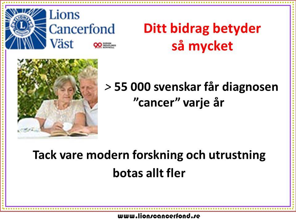 """www.lionscancerfond.se Ditt bidrag betyder så mycket > 55 000 svenskar får diagnosen """"cancer"""" varje år Tack vare modern forskning och utrustning botas"""