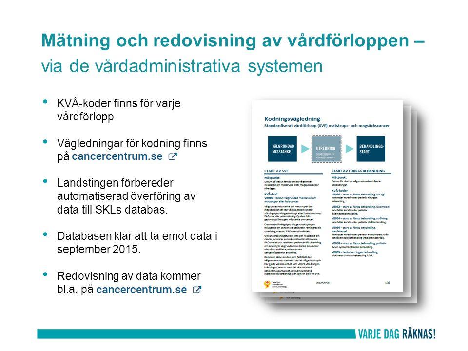 Mätning och redovisning av vårdförloppen – via de vårdadministrativa systemen KVÅ-koder finns för varje vårdförlopp Vägledningar för kodning finns på