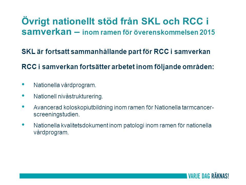 Övrigt nationellt stöd från SKL och RCC i samverkan – inom ramen för överenskommelsen 2015 SKL är fortsatt sammanhållande part för RCC i samverkan RCC i samverkan fortsätter arbetet inom följande områden: Nationella vårdprogram.