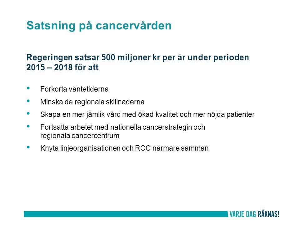 Mätning och redovisning av vårdförloppen – via de vårdadministrativa systemen KVÅ-koder finns för varje vårdförlopp Vägledningar för kodning finns på cancercentrum.se Landstingen förbereder automatiserad överföring av data till SKLs databas.