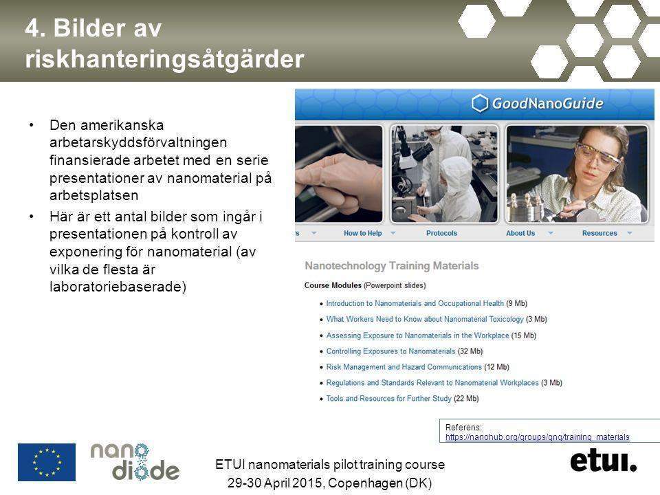 4. Bilder av riskhanteringsåtgärder Den amerikanska arbetarskyddsförvaltningen finansierade arbetet med en serie presentationer av nanomaterial på arb