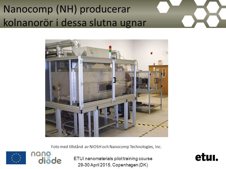 Nanocomp (NH) producerar kolnanorör i dessa slutna ugnar Foto med tillstånd av NIOSH och Nanocomp Technologies, Inc. ETUI nanomaterials pilot training