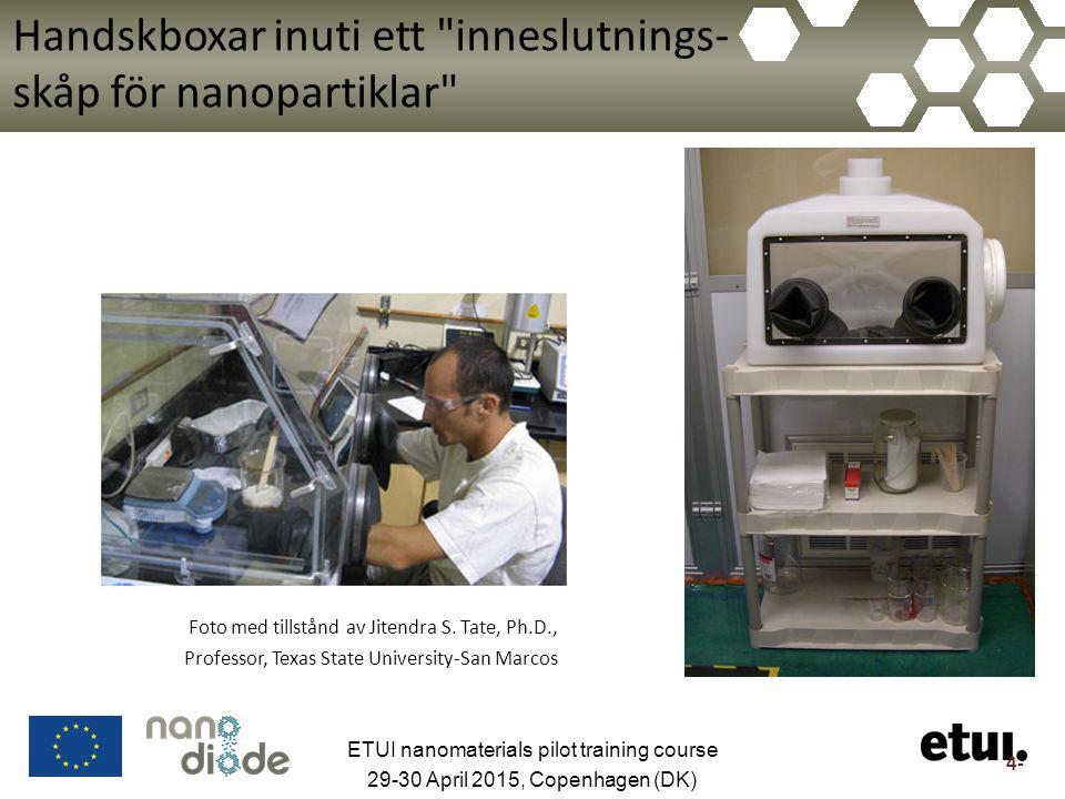 Handskboxar inuti ett inneslutnings- skåp för nanopartiklar Foto med tillstånd av Jitendra S.