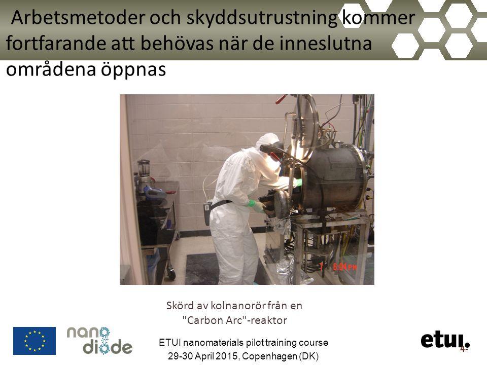 Arbetsmetoder och skyddsutrustning kommer fortfarande att behövas när de inneslutna områdena öppnas Skörd av kolnanorör från en Carbon Arc -reaktor 4- ETUI nanomaterials pilot training course 29-30 April 2015, Copenhagen (DK)