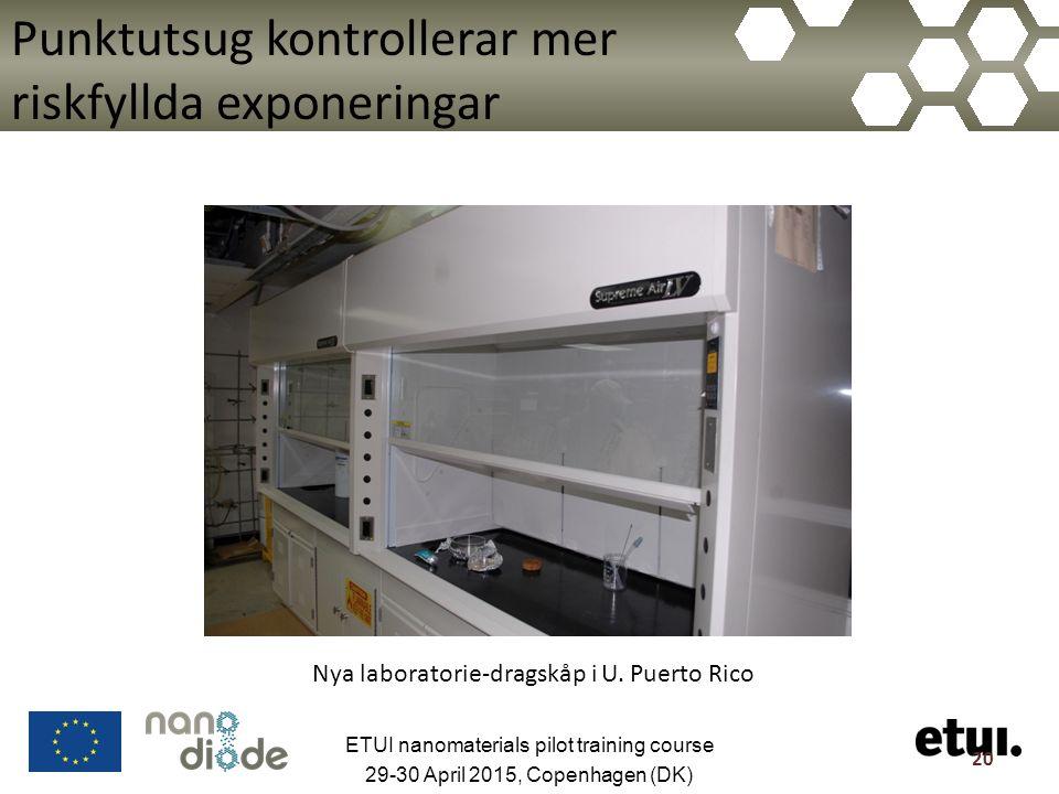 Punktutsug kontrollerar mer riskfyllda exponeringar 20 Nya laboratorie-dragskåp i U.
