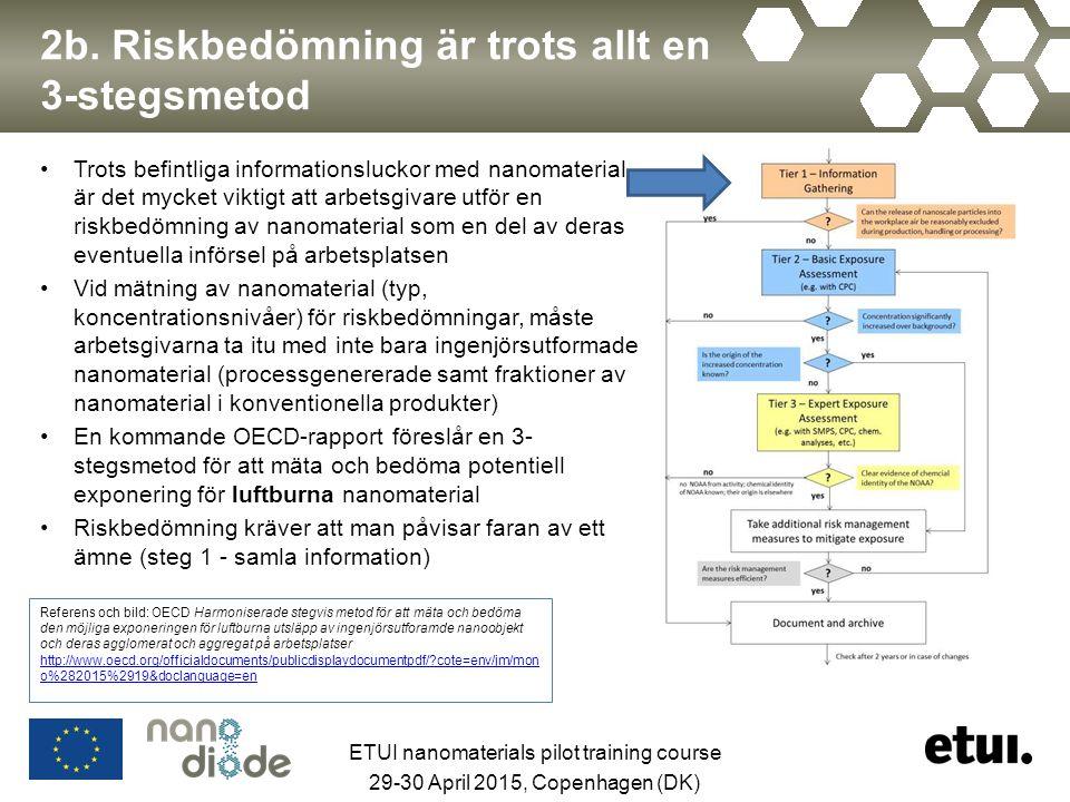 2b. Riskbedömning är trots allt en 3-stegsmetod Trots befintliga informationsluckor med nanomaterial, är det mycket viktigt att arbetsgivare utför en