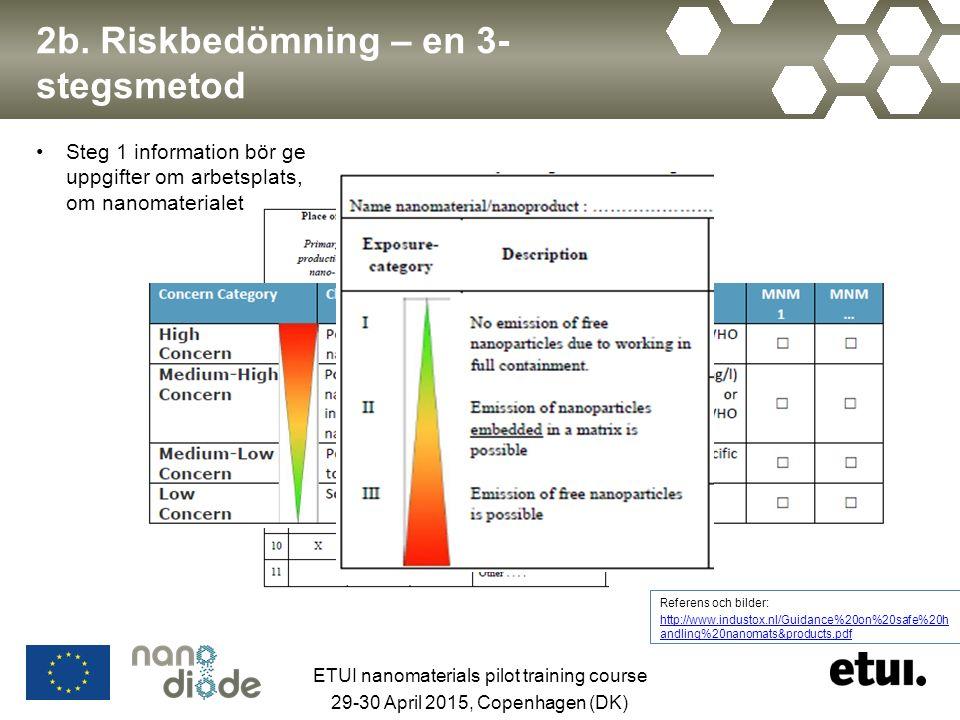 2b. Riskbedömning – en 3- stegsmetod Steg 1 information bör ge uppgifter om arbetsplats, om nanomaterialet Referens och bilder: http://www.industox.nl