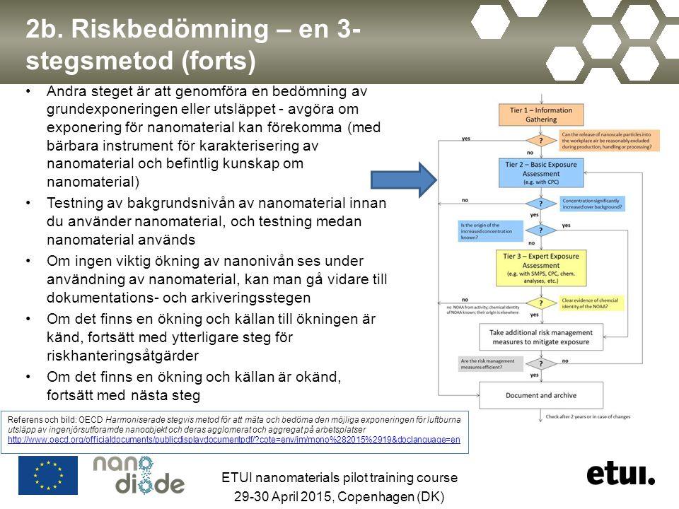 2b. Riskbedömning – en 3- stegsmetod (forts) Andra steget är att genomföra en bedömning av grundexponeringen eller utsläppet - avgöra om exponering fö