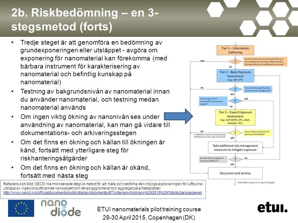 2b. Riskbedömning – en 3- stegsmetod (forts) Tredje steget är att genomföra en bedömning av grundexponeringen eller utsläppet - avgöra om exponering f
