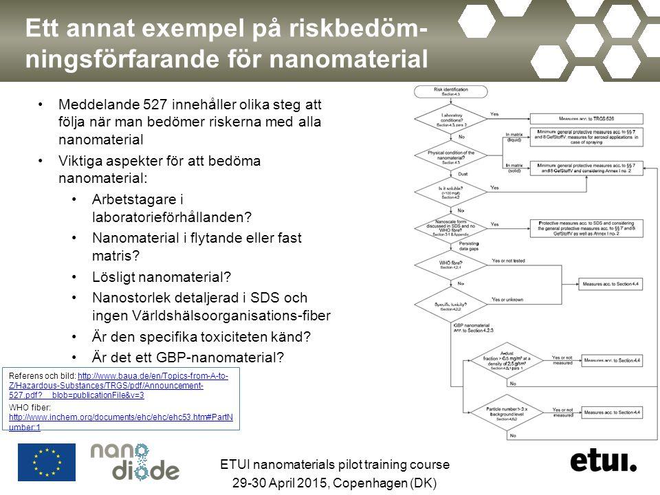 Ett annat exempel på riskbedöm- ningsförfarande för nanomaterial Meddelande 527 innehåller olika steg att följa när man bedömer riskerna med alla nano