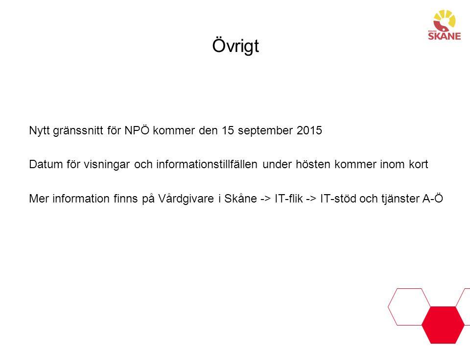 Övrigt Nytt gränssnitt för NPÖ kommer den 15 september 2015 Datum för visningar och informationstillfällen under hösten kommer inom kort Mer informati