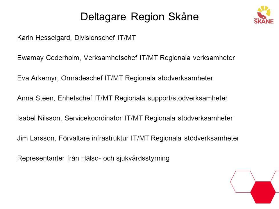 Deltagare Region Skåne Karin Hesselgard, Divisionschef IT/MT Ewamay Cederholm, Verksamhetschef IT/MT Regionala verksamheter Eva Arkemyr, Områdeschef I