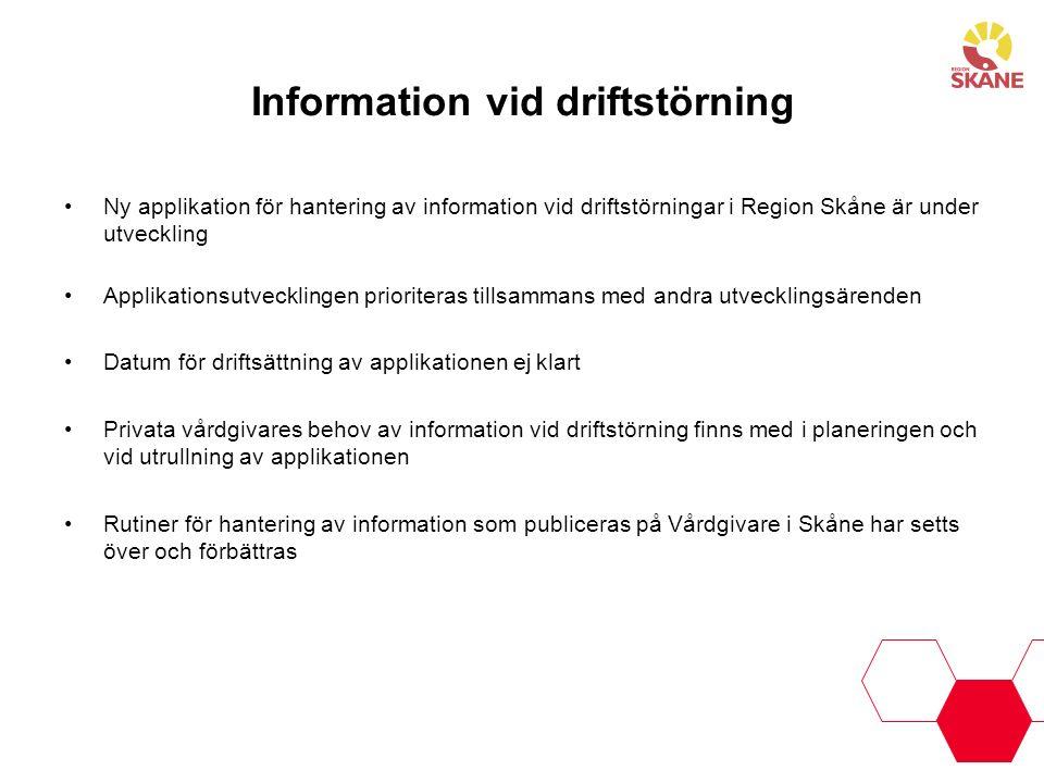 Information vid driftstörning Ny applikation för hantering av information vid driftstörningar i Region Skåne är under utveckling Applikationsutvecklin