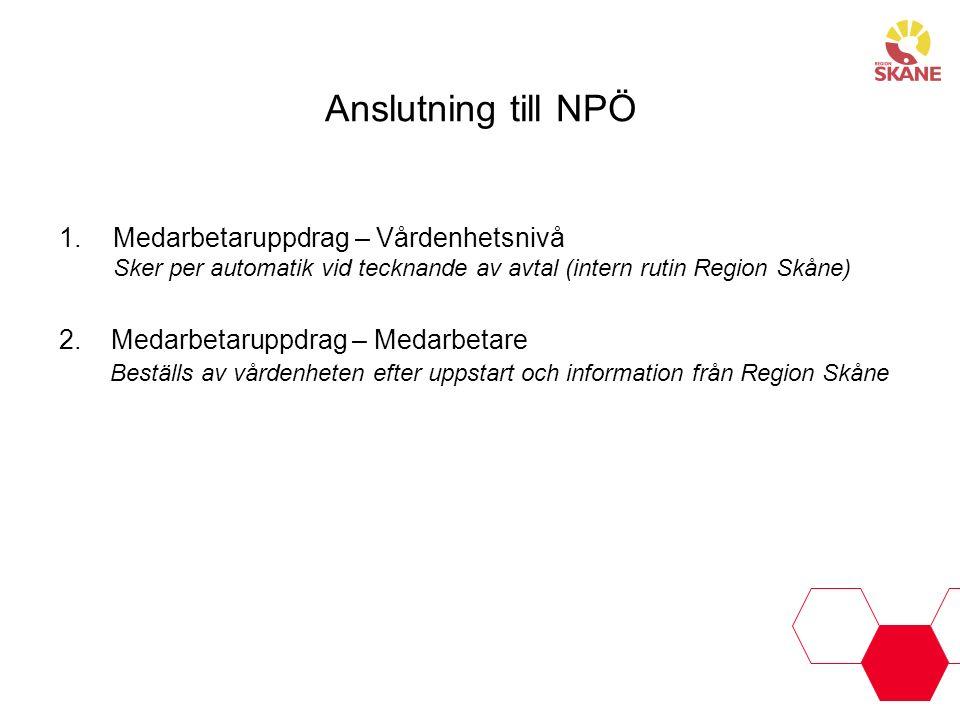 Anslutning till NPÖ 1.Medarbetaruppdrag – Vårdenhetsnivå Sker per automatik vid tecknande av avtal (intern rutin Region Skåne) 2. Medarbetaruppdrag –