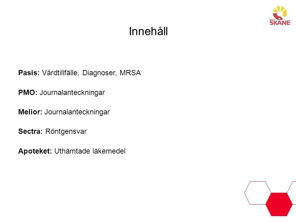 Innehåll Pasis: Vårdtillfälle, Diagnoser, MRSA PMO: Journalanteckningar Melior: Journalanteckningar Sectra: Röntgensvar Apoteket: Uthämtade läkemedel