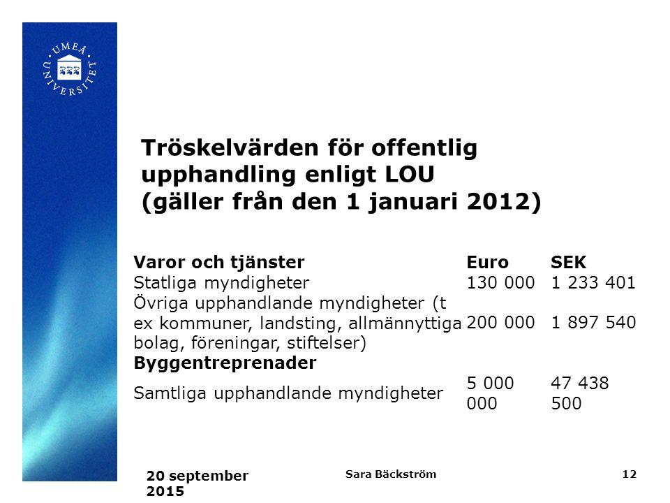 Varor och tjänsterEuroSEK Statliga myndigheter130 0001 233 401 Övriga upphandlande myndigheter (t ex kommuner, landsting, allmännyttiga bolag, föreningar, stiftelser) 200 0001 897 540 Byggentreprenader Samtliga upphandlande myndigheter 5 000 000 47 438 500 20 september 2015 Sara Bäckström12 Tröskelvärden för offentlig upphandling enligt LOU (gäller från den 1 januari 2012)